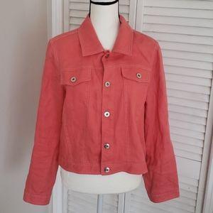 ALEXANDRA BARTLETT Orange Linen Jean jacket